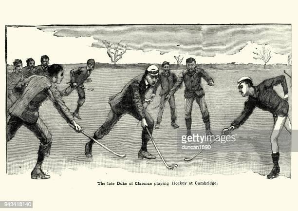 ilustraciones, imágenes clip art, dibujos animados e iconos de stock de príncipe albert victor, hockey juego duque de clarence - hockey sobre hierba