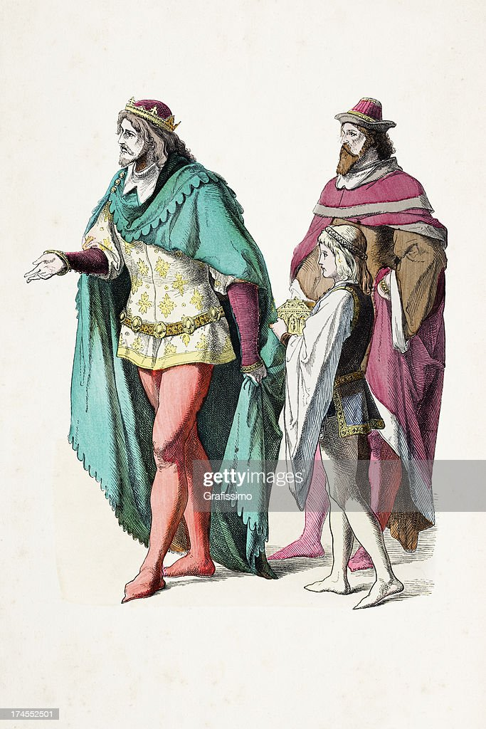 Prince And Nobleman In Traditional Clothing 14th Century stock