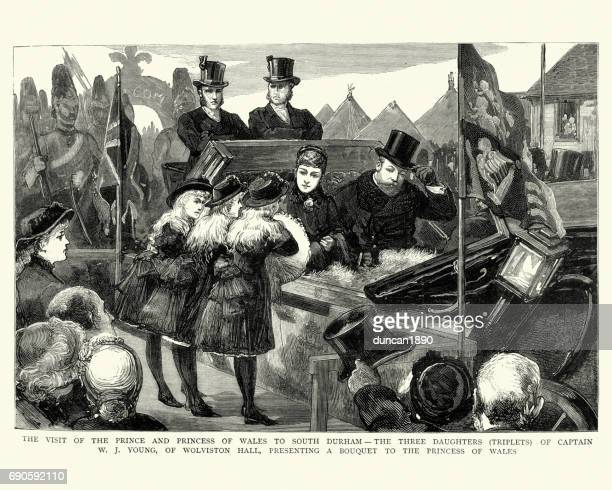 prince and princess of wales visit to durham, 1884 - northeastern england stock illustrations, clip art, cartoons, & icons