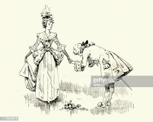 prince bowing and kissing princess hand, victorian fairy tale - social grace stock illustrations