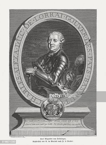 prince charles alexander of lorraine (1712-1780), published in 1884 - lorraine stock illustrations, clip art, cartoons, & icons