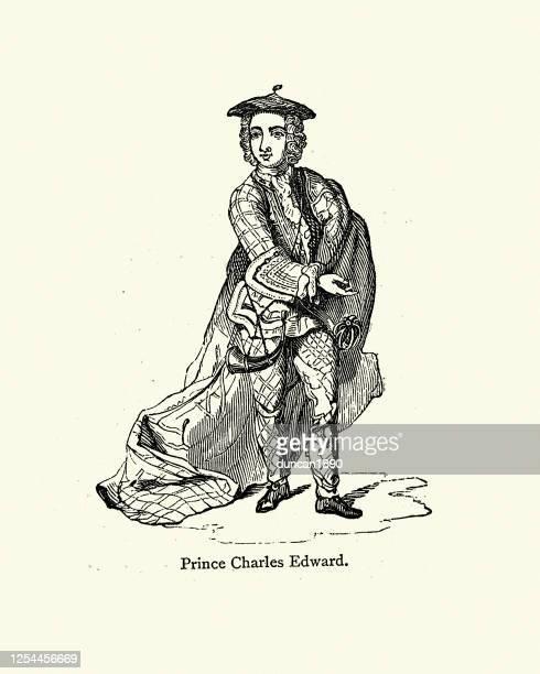 prince charles edward stuart - scottish culture stock illustrations