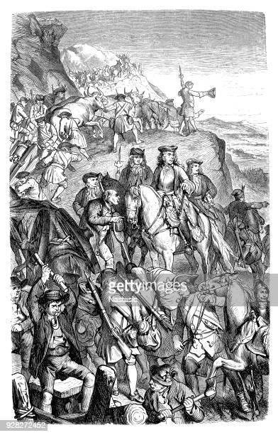 prince eugene's army crosses the alps. - auvergne rhône alpes stock illustrations, clip art, cartoons, & icons