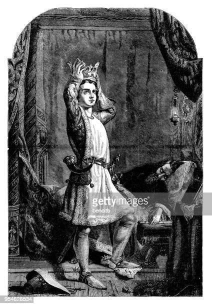 prince henry v trying on crown - henry v of england stock illustrations, clip art, cartoons, & icons