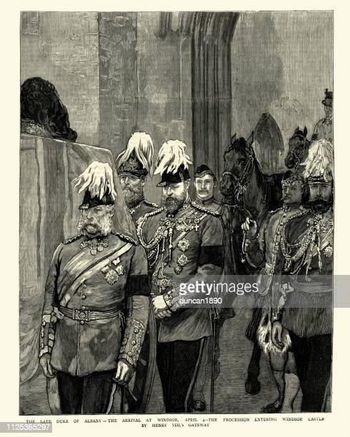 prince leopold, duke of albany, coffin arriving at windsor castle - windsor castle stock illustrations