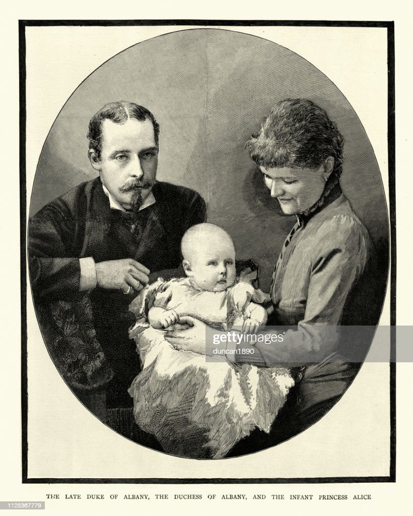 Prince Leopold, Duke of Albany with wife and daughter : stock illustration