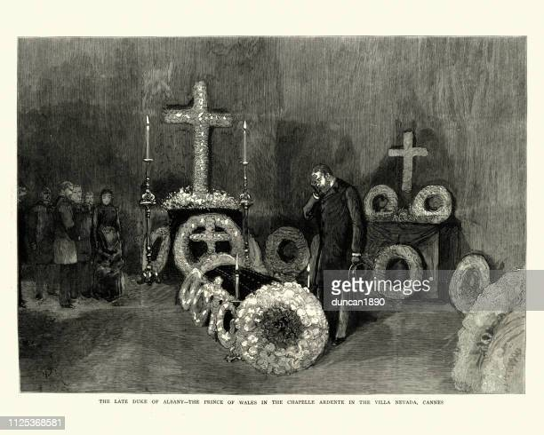 prince of wales before coffin of his brother prince leopold - cannes stock illustrations, clip art, cartoons, & icons