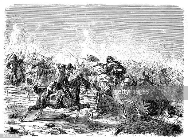 prince rupert of the palatinate and his cavaliers with the roundheads - cavalier cavalry stock illustrations, clip art, cartoons, & icons