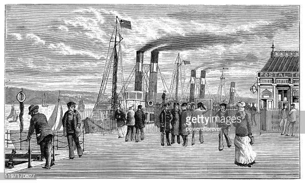 prince's dock in liverpool, england - 19th century - merseyside stock illustrations