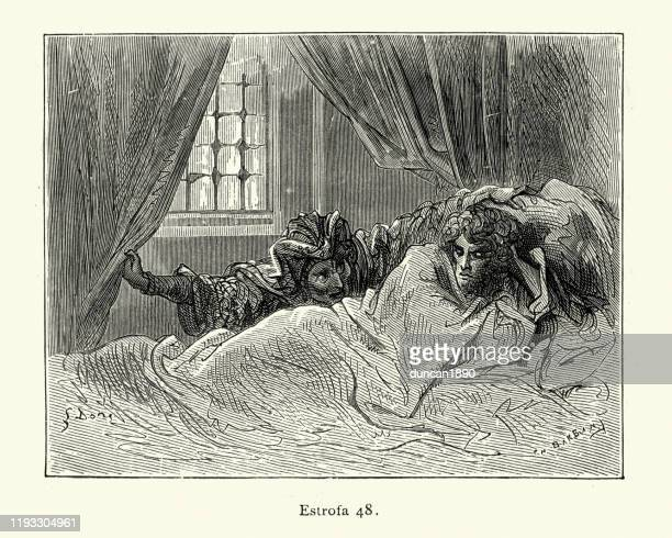 princes enchanted sleep disturbed . orlando furioso - wizard stock illustrations