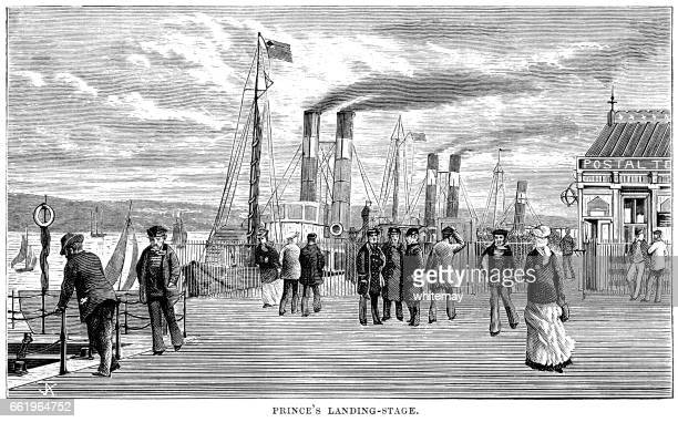 Princes Landing Stage (Pier Head), Liverpool (Victorian engraving)