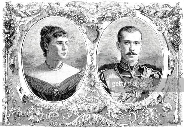 stockillustraties, clipart, cartoons en iconen met alexandra van griekenland en groothertog paul van rusland - duke