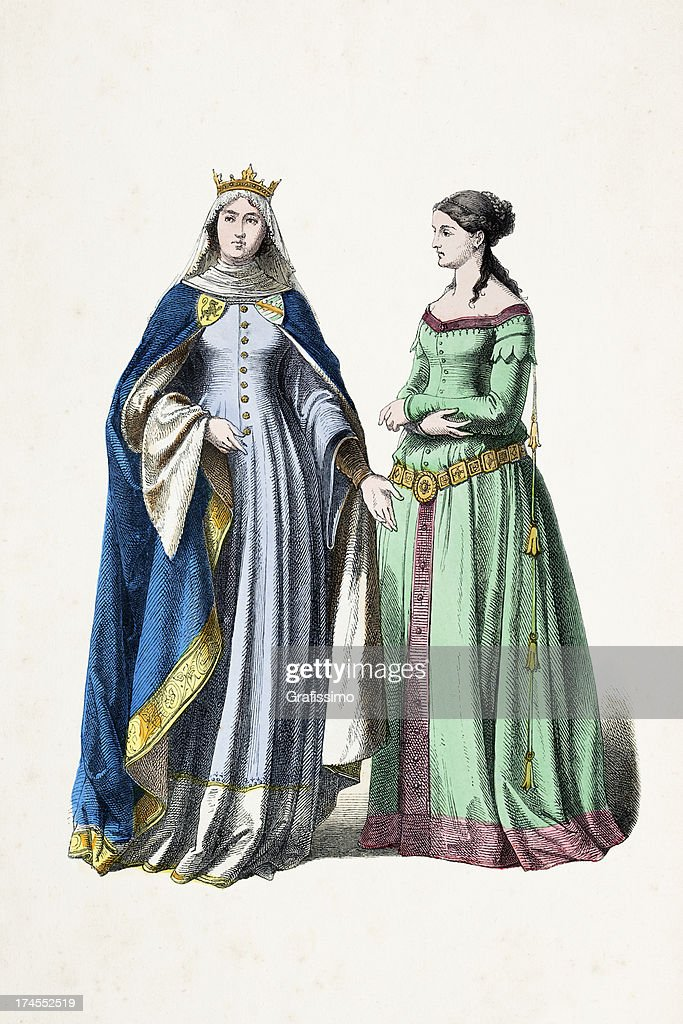 Princess And Aristocratic Woman In Traditional Clothing 14th Century
