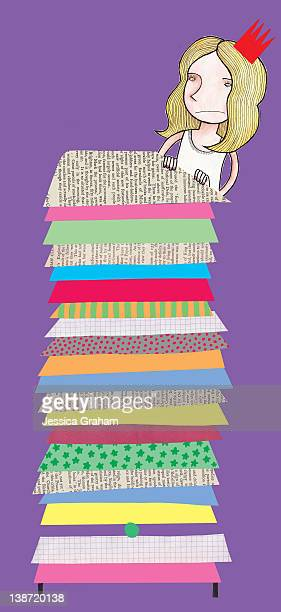 princess and the pea - green pea stock illustrations