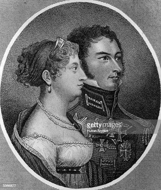 Princess Charlotte Augusta of Britain daughter of King George IV and her husband Prince Leopold of SaxeCoburg the future King Leopold I of Belgium He...
