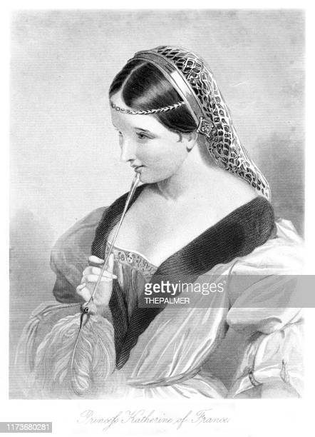 princess katherine of france - shakespeare engraving 1883 - princess stock illustrations