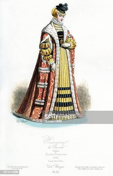 princess of bavaria - high renaissance stock illustrations