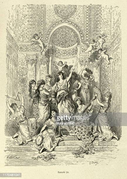 princess surrounded by muscians and cherubs. orlando furioso - princess stock illustrations