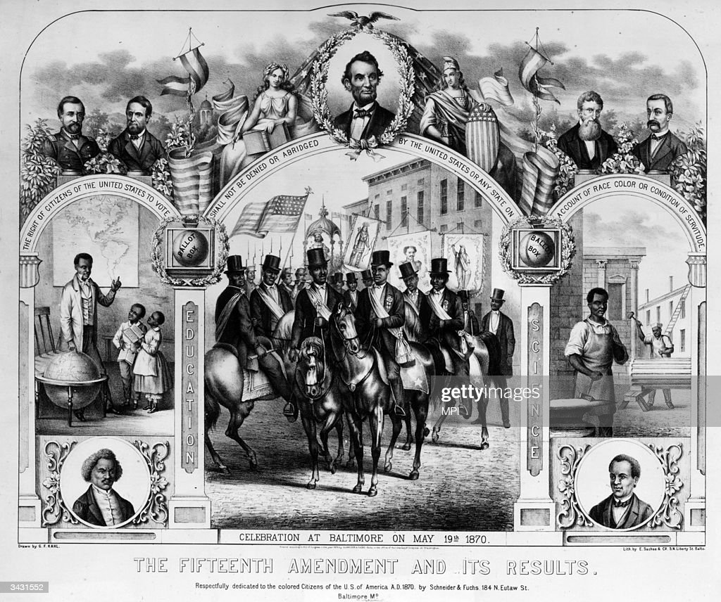 A print celebrating the ratification of the Fifteenth Amendment, by the government of Ulysses S Grant, which sought to protect the rights of former slaves.
