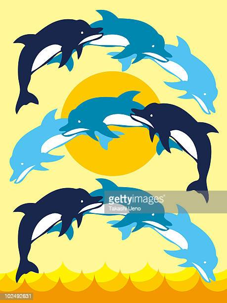 A print of dolphins jumping and creating a pattern
