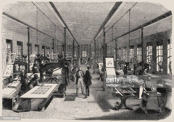 print workshop, in 19th century - industrial revolution stock illustrations