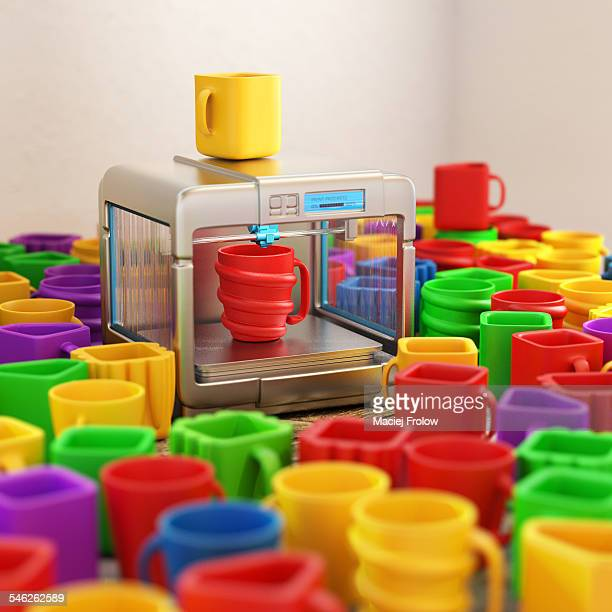 3d printer with alot of mugs - 2015 stock illustrations