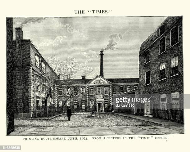 印刷の家広場と時代、19 世紀のオフィス - 1890~1899年点のイラスト素材/クリップアート素材/マンガ素材/アイコン素材