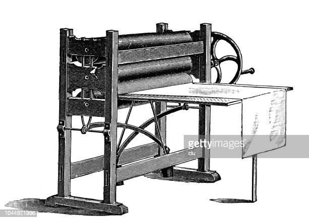 printing machine on white background - printing press stock illustrations