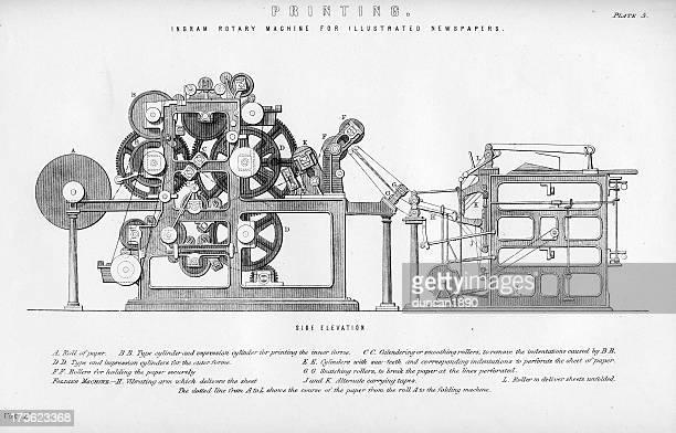 printing press - printing press stock illustrations