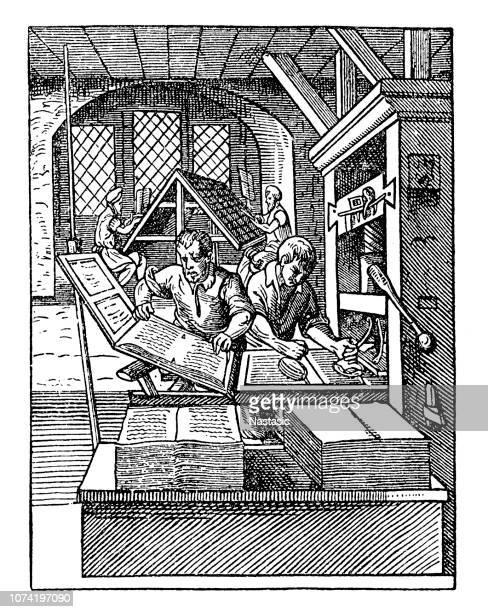 printing workshop, 16th century - 16th century stock illustrations