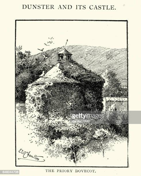 priory dovecot, dunster, 1892 - former stock illustrations, clip art, cartoons, & icons