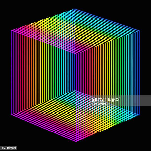 prismatic colours cube - digitally generated image stock illustrations