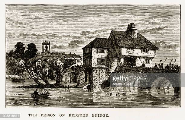 Prison on Bedford Bridge in Bedford, England Victorian Engraving, 1840