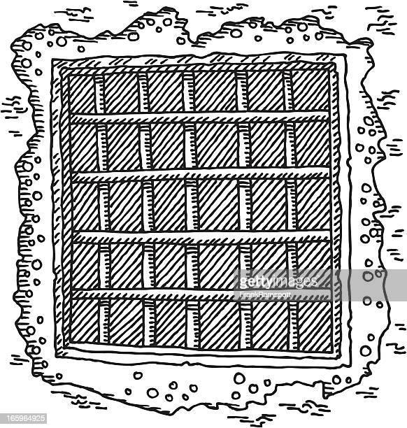 Gefängnis Fenster Bars Zeichnung