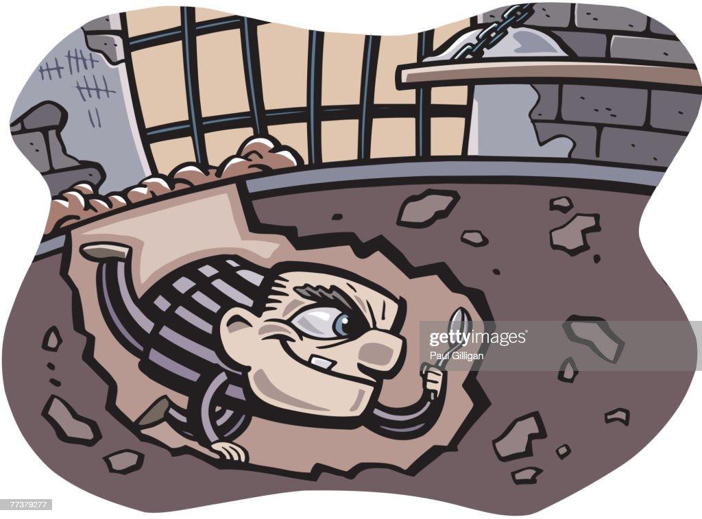 A prisoner escaping from jail : Illustration