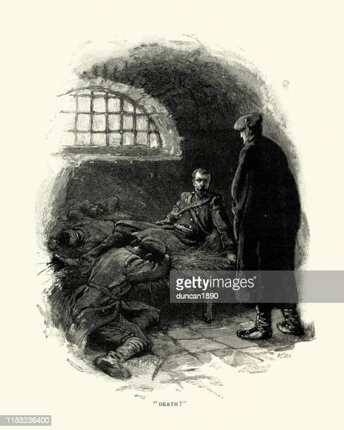 Prisoner of war helded in a prison cell, 19th Century