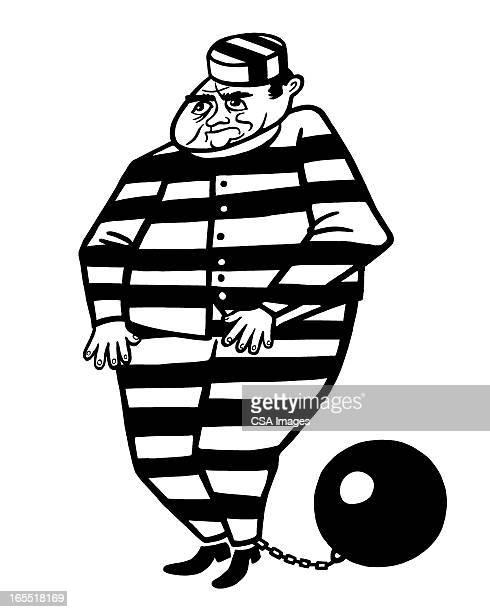 prisoner with ball and chain - prisoner stock illustrations