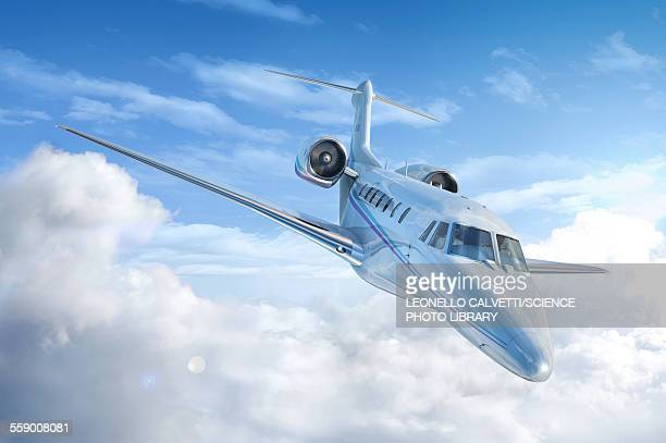 private jet in the clouds, illustration - private aeroplane stock illustrations