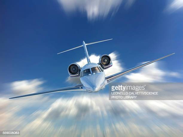 private jet in the clouds, illustration - front view stock illustrations