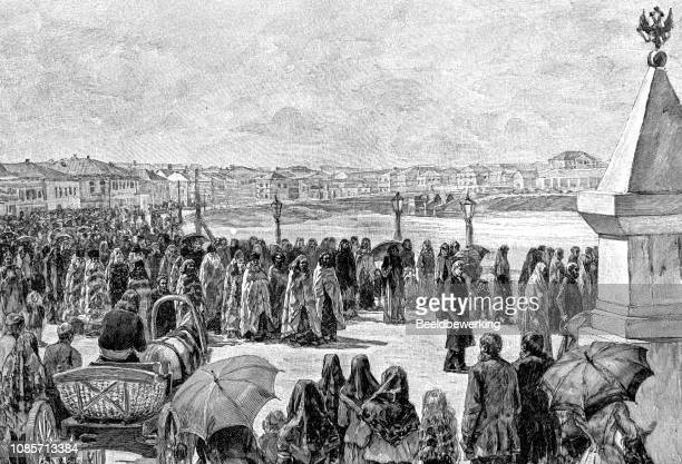 procession in tomsk illustration 1895 'the earth and her people' - religious occupation stock illustrations