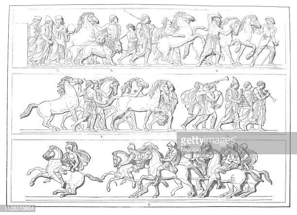 procession of alexander relief - alexander the great stock illustrations