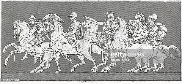 procession of alexander relief - relief carving stock illustrations