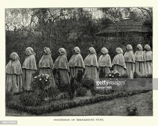 procession of bernardine nuns, 19th century - religious occupation stock illustrations