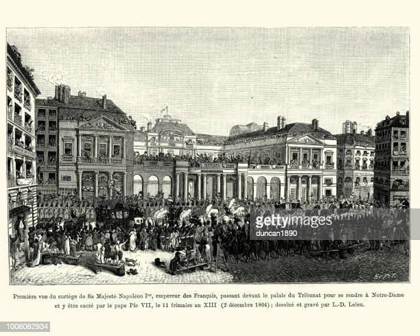 procession of his majesty napoleon, emperor of the french 1804 - corona zon stock illustrations
