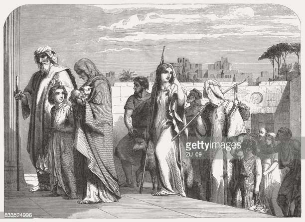 procession of the faithful to the temple (psalms 96, 8) - religious occupation stock illustrations