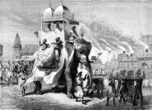 Procession of the Gaekwad of Baroda with elephant howdar
