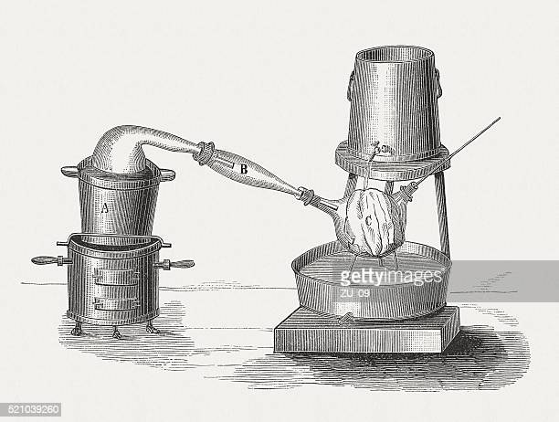 production of bromine, wood engraving, published in 1880 - distillation stock illustrations, clip art, cartoons, & icons