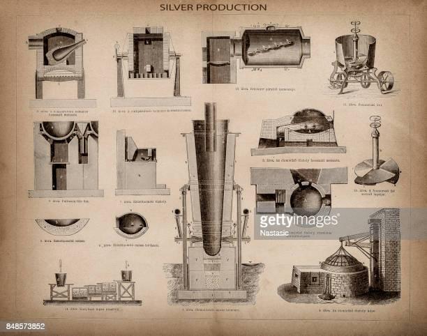 production of silver - distillation stock illustrations, clip art, cartoons, & icons