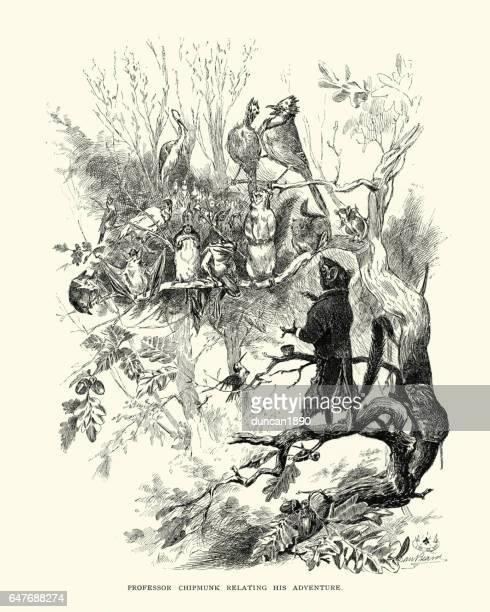 professor chipmunk relating his adventure to other animals - chipmunk stock illustrations