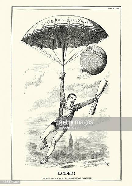 illustrations, cliparts, dessins animés et icônes de professeur ritchie avec son parachute de parlementaire - saut en parachute
